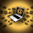 3D E-Mail Laptop Golden Flying Messages - Stock Photo
