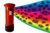 3D rainbow e-posta posta kutusu — Stok fotoğraf