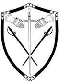 Isolated 16th Century War Shield with Crossed Swords and Gloves — Stock Vector