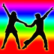 Color Bands Back Dancing Couple 70s — Stock Photo
