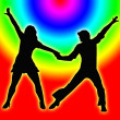 Color Circles Dancing Couple 70s — Stock Photo