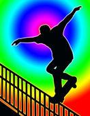 Color Circle Back Skateboarding Nosegrind Rail Slide — Stock Photo