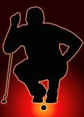 Glow Ball Sport Silhouette - Golfer Sizing put up — Stock Photo
