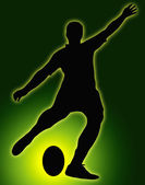 Green Glow Ball Sport Silhouette - Rugby Football Kicker — Stock Photo