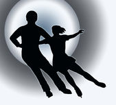 Spotlight Back Silhouette Ice Skater Couple Side by Side Turn — Stock Photo