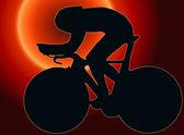 Silhueta do sol esporte volta - ciclista — Foto Stock