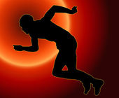 Zonsondergang terug mannelijke atleet — Stockfoto