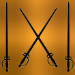 Coat of Arms Golden Cross Sword Silhouette — Stock Photo