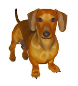 Isolated Story Book Painting of Miniature Dachshund — Stock Photo