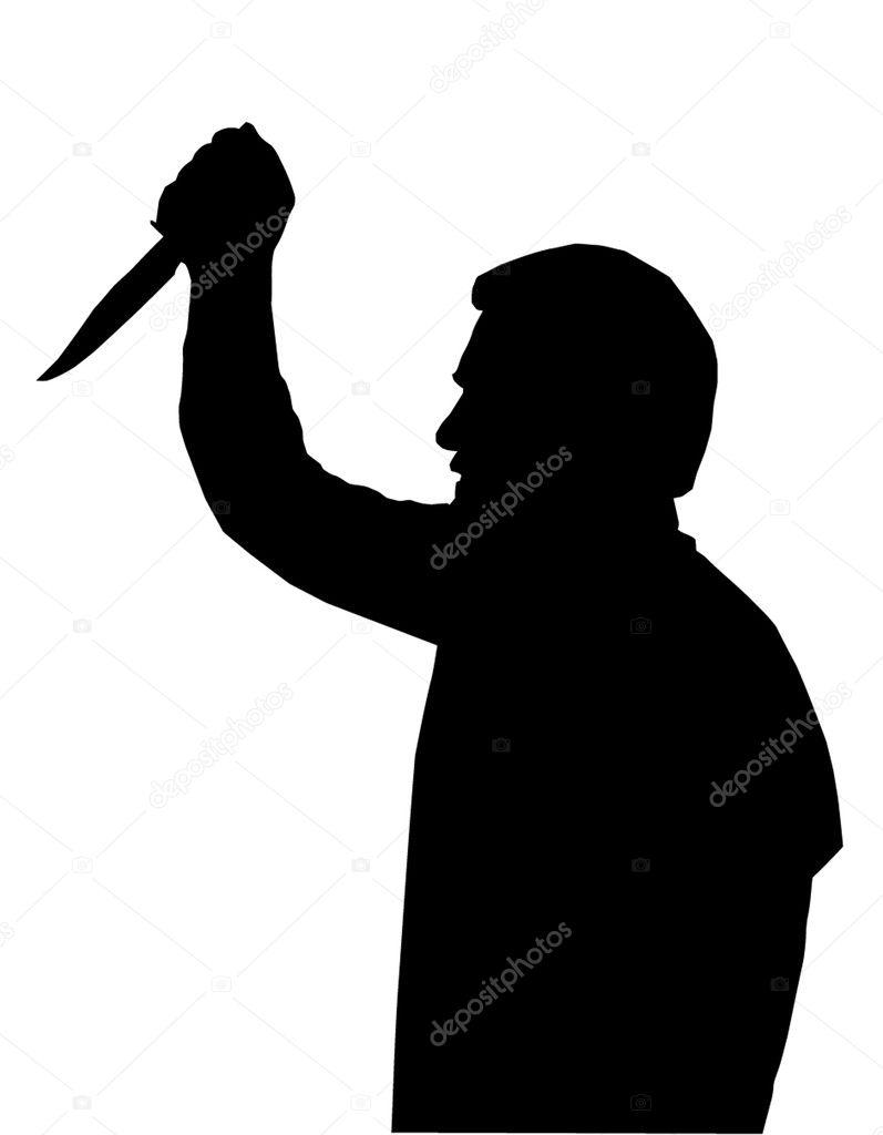 Silhouette of man Stabbing Victim — Stock Vector © CD123 ...
