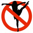 Dancer Silhouette on Traffic Prohibition Sign — Stock Photo