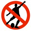 Rugby Player Silhouette on Traffic Prohibition Sign — Stock Photo