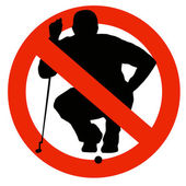 Golf Player Silhouette on Traffic Prohibition Sign — Stock Photo