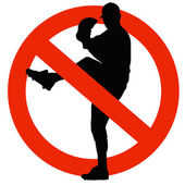 Baseball Player Silhouette on Traffic Prohibition Sign — Stock Photo