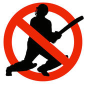 Cricket Player Silhouette on Traffic Prohibition Sign — Stock Photo