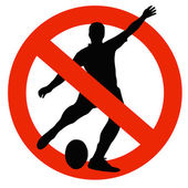 Rugby Player Silhouette on Traffic Prohibition Sign — Foto Stock