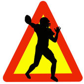Football Player Silhouette on Traffic Warning Sign — Stock Photo