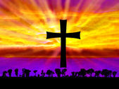 Abstract Fantasy Sunset with Cross — Stock Photo