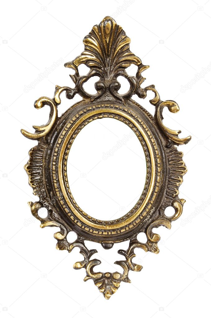 Ornamented, very old, gold plated empty picture frame for putting your pictures in. Isolated on white background. — Stock Photo #7983499