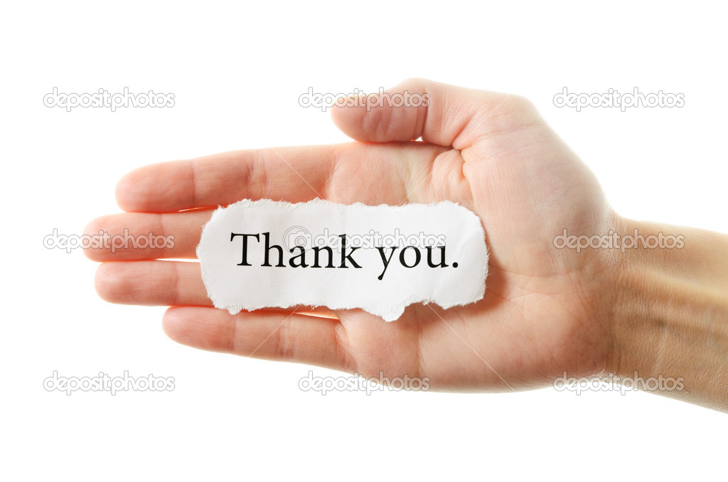 Thank you or thanks concept with hand word and paper. Isolated on white background. — Stock Photo #9238263