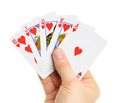 Playing cards in hand — Stock Photo