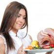 Chef woman plate in hand with turkey meat ham — Stock Photo #10407406