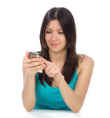 Woman online banking using her modern mobile cellphone — Stock Photo