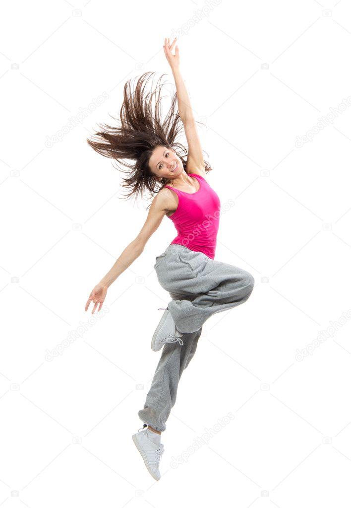 Modern teenage girl dancer dancing hip hop and jumping for Modern teenage girl