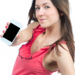 Woman Showing display of her new touch mobile cell phone — Stock Photo