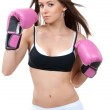 Sports Boxing Woman in pink box gloves — Stock Photo