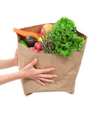 Hands holding a shopping bag full of groceries — Stock Photo