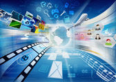 интернет, компьютерные и мультимедийные обмена — Стоковое фото