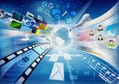 Dator med internet och multimedia dela — Stockfoto