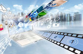 Internet and multimedia sharing concept — Stock Photo