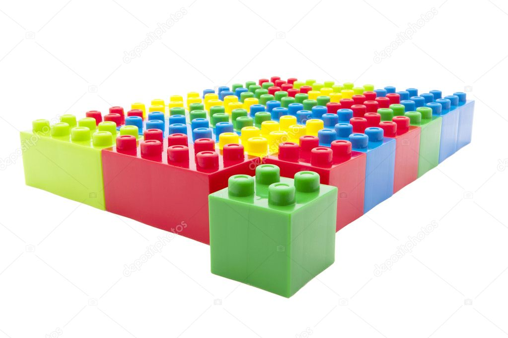 Colored building games in a row. — Stock Photo #10627360