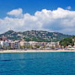 Panoramic cityscape view of Lloret de Mar from sea, Costa Brava, — Stock Photo