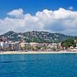 Panoramic cityscape view of Lloret de Mar from sea, Costa Brava, — Stock Photo