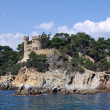 Landscape with castle view from sea in Lloret de Mar, Costa Brav — Stock Photo