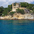 Landscape with castle form sea in Lloret de Mar, Costa Brava, Sp — Stock Photo