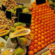 La Boqueria rows of fruits. World famous Barcelona market, Spain — Lizenzfreies Foto