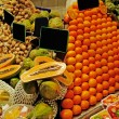 La Boqueria rows of fruits. World famous Barcelona market, Spain — Foto Stock