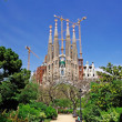 Sagrada Familia view from park. Barcelona, Spain. - Stock Photo