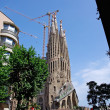 Stock Photo: SagradFamilichurch with apartments nearby. Barcelona, Spain.