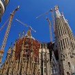 Modern apartments and Sagrada Familia. Barcelona, Spain. - Stock Photo