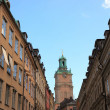 Stock Photo: Old Stockholm narrow street. Sweden Europe.