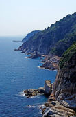Vertical image of cliff and sea. Landscape of Lloret de Mar, Cos — Stock Photo