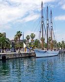 Big sailboat in Barcelona harbour for romantic travel. — Stock Photo