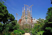 Sagrada Familia view from park. Barcelona, Spain. — Foto de Stock