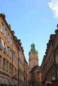 Gamla stockholm smal gata. sverige europa. — Stockfoto