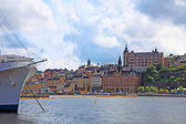 Ship and cityscape of Stockholm. — Stock Photo